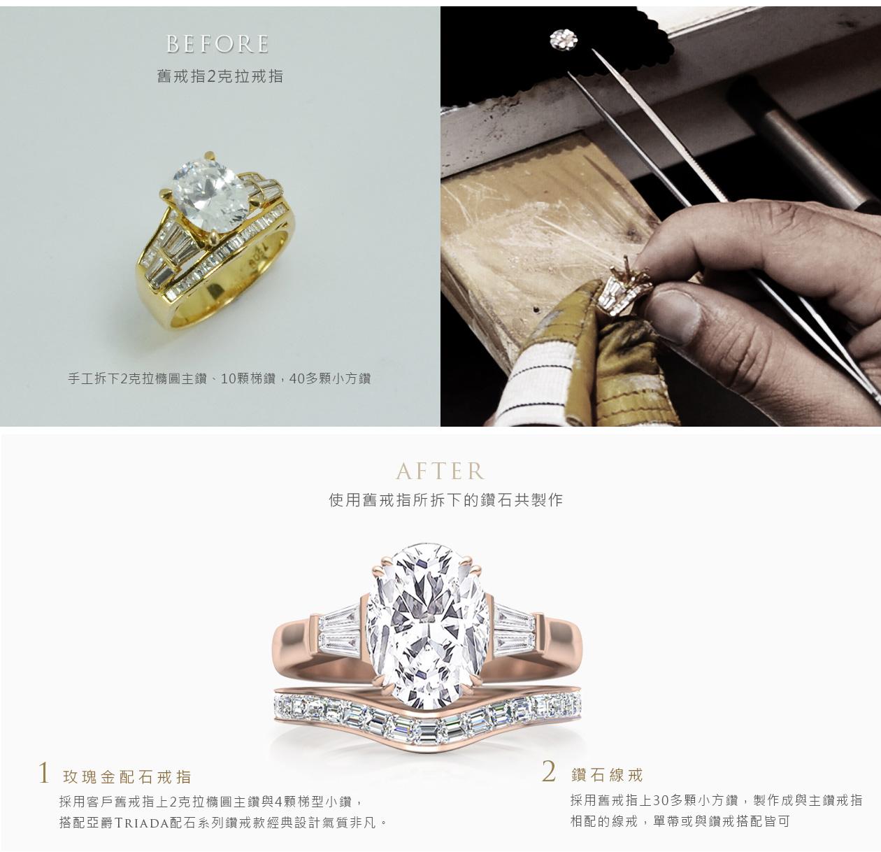 舊換新舊鑽戒改款式成:鑽石套戒鑽戒線戒