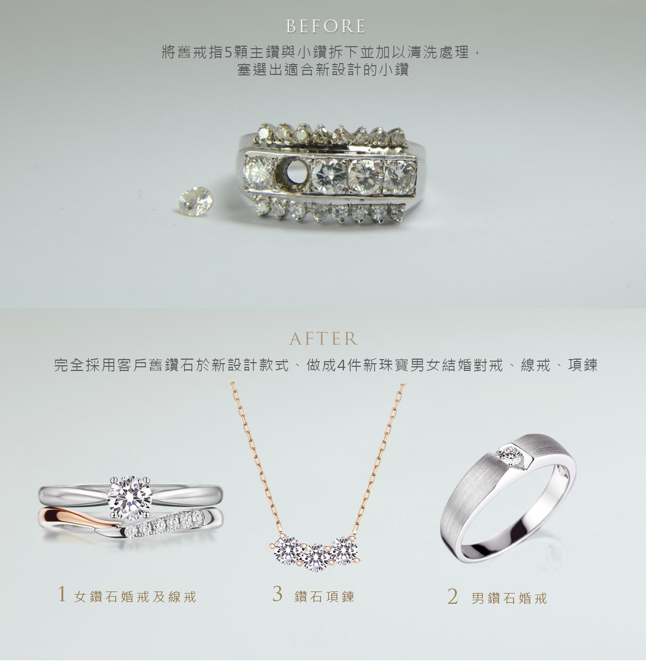 長輩戒指改款式成:鑽石婚戒線戒男戒項鍊