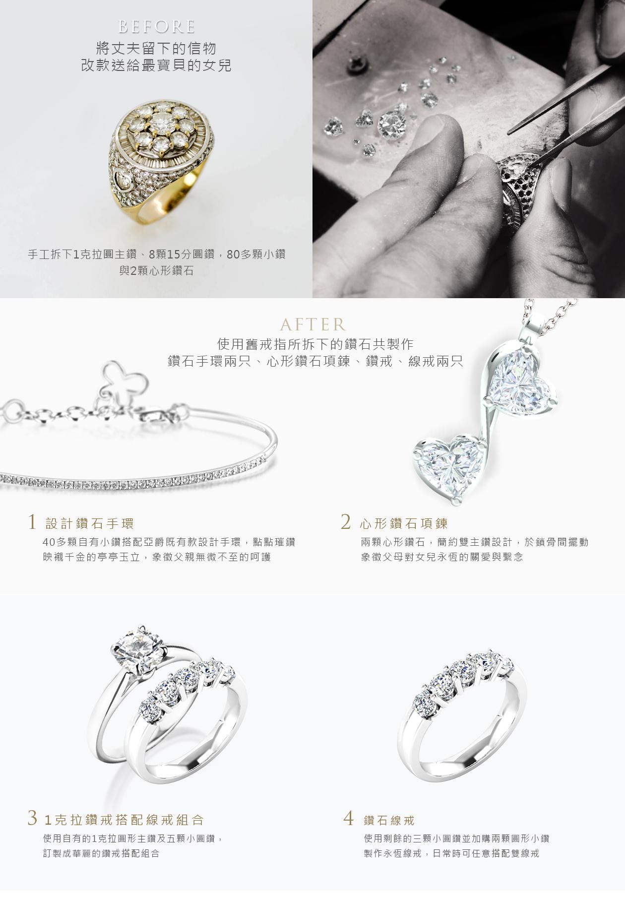 舊換新舊鑽戒改款式成:鑽石手環,鑽石項鍊,鉑金經典四爪鑽戒,永恆線戒