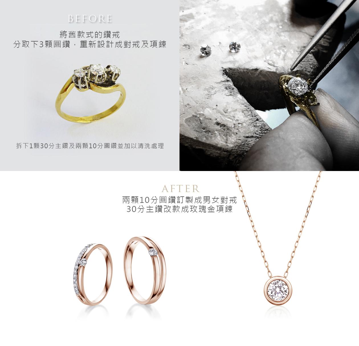 舊鑽戒改款翻新成:結婚對戒,單鑽30分包鑲鑽石項鍊