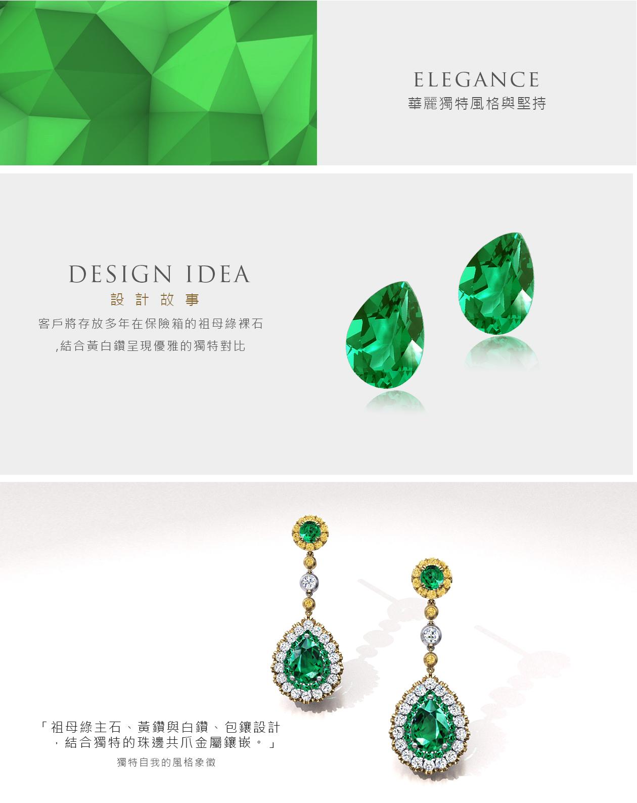 祖母綠黃K金黃鑽耳環