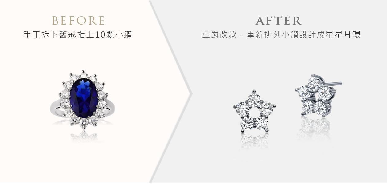 亞爵鑽石-舊換新改款式成五石耳環
