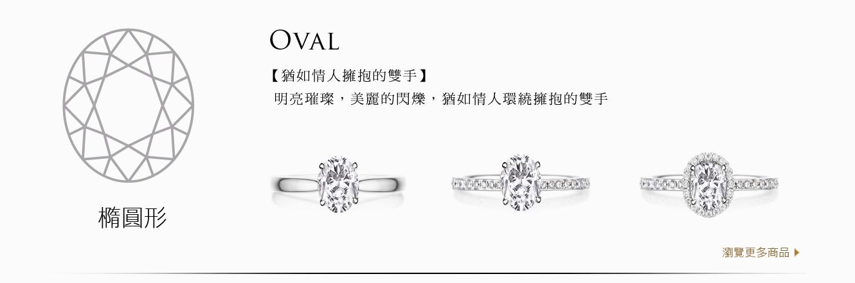 A&J Collection 亞爵鑽石 Oval 橢圓形 四爪經典 單排鑽 光環 鑽戒求婚戒指
